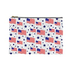 Flag Of The Usa Pattern Cosmetic Bag (large)  by EDDArt