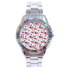 Flag Of The Usa Pattern Stainless Steel Analogue Watch by EDDArt