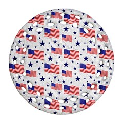 Flag Of The Usa Pattern Round Filigree Ornament (two Sides) by EDDArt