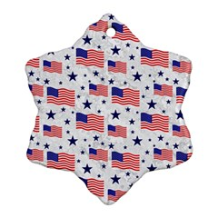 Flag Of The Usa Pattern Snowflake Ornament (two Sides) by EDDArt