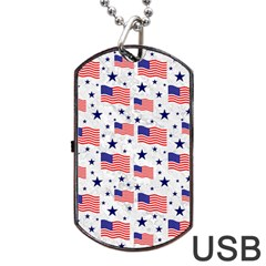 Flag Of The Usa Pattern Dog Tag Usb Flash (one Side) by EDDArt