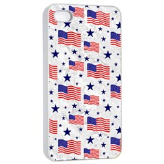 Flag Of The Usa Pattern Apple Iphone 4/4s Seamless Case (white) by EDDArt