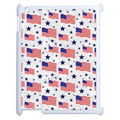 Flag Of The Usa Pattern Apple Ipad 2 Case (white) by EDDArt