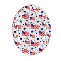 Flag Of The Usa Pattern Oval Filigree Ornament (two Sides) by EDDArt