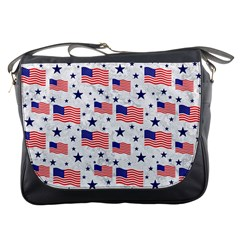 Flag Of The Usa Pattern Messenger Bags by EDDArt