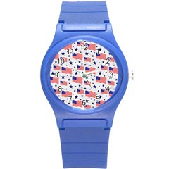 Flag Of The Usa Pattern Round Plastic Sport Watch (s) by EDDArt