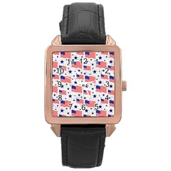 Flag Of The Usa Pattern Rose Gold Leather Watch  by EDDArt