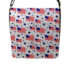 Flag Of The Usa Pattern Flap Messenger Bag (l)  by EDDArt