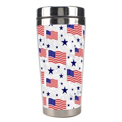 Flag Of The Usa Pattern Stainless Steel Travel Tumblers by EDDArt