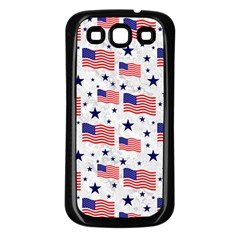 Flag Of The Usa Pattern Samsung Galaxy S3 Back Case (black) by EDDArt