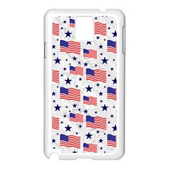 Flag Of The Usa Pattern Samsung Galaxy Note 3 N9005 Case (white) by EDDArt