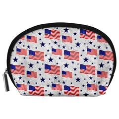 Flag Of The Usa Pattern Accessory Pouches (large)  by EDDArt