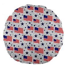 Flag Of The Usa Pattern Large 18  Premium Flano Round Cushions by EDDArt