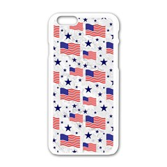 Flag Of The Usa Pattern Apple Iphone 6/6s White Enamel Case by EDDArt