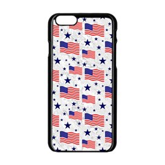 Flag Of The Usa Pattern Apple Iphone 6/6s Black Enamel Case by EDDArt