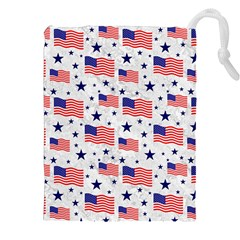 Flag Of The Usa Pattern Drawstring Pouches (xxl) by EDDArt