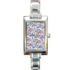 Watercolor Flowers Butterflies Pattern Blue Red Rectangle Italian Charm Watch by EDDArt
