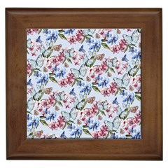 Watercolor Flowers Butterflies Pattern Blue Red Framed Tiles by EDDArt