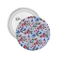 Watercolor Flowers Butterflies Pattern Blue Red 2 25  Buttons by EDDArt
