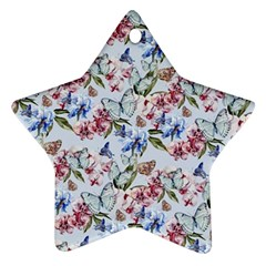 Watercolor Flowers Butterflies Pattern Blue Red Ornament (star) by EDDArt