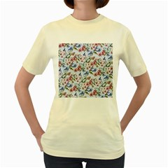 Watercolor Flowers Butterflies Pattern Blue Red Women s Yellow T Shirt by EDDArt
