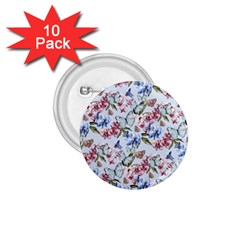 Watercolor Flowers Butterflies Pattern Blue Red 1 75  Buttons (10 Pack) by EDDArt