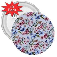 Watercolor Flowers Butterflies Pattern Blue Red 3  Buttons (10 Pack)  by EDDArt