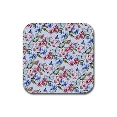 Watercolor Flowers Butterflies Pattern Blue Red Rubber Coaster (square)  by EDDArt