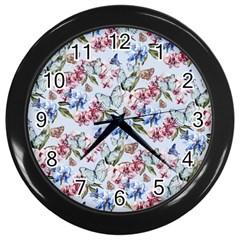 Watercolor Flowers Butterflies Pattern Blue Red Wall Clocks (black) by EDDArt