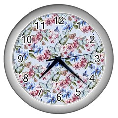 Watercolor Flowers Butterflies Pattern Blue Red Wall Clocks (silver)  by EDDArt