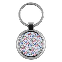 Watercolor Flowers Butterflies Pattern Blue Red Key Chains (round)  by EDDArt