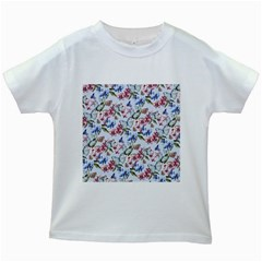 Watercolor Flowers Butterflies Pattern Blue Red Kids White T Shirts by EDDArt