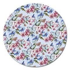 Watercolor Flowers Butterflies Pattern Blue Red Magnet 5  (round) by EDDArt