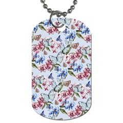 Watercolor Flowers Butterflies Pattern Blue Red Dog Tag (one Side) by EDDArt