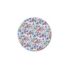 Watercolor Flowers Butterflies Pattern Blue Red Golf Ball Marker by EDDArt