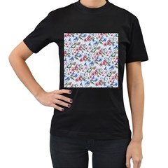 Watercolor Flowers Butterflies Pattern Blue Red Women s T Shirt (black) (two Sided) by EDDArt