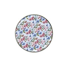 Watercolor Flowers Butterflies Pattern Blue Red Hat Clip Ball Marker by EDDArt