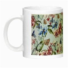 Watercolor Flowers Butterflies Pattern Blue Red Night Luminous Mugs by EDDArt