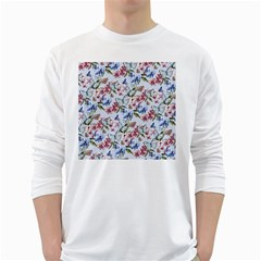 Watercolor Flowers Butterflies Pattern Blue Red White Long Sleeve T Shirts