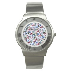 Watercolor Flowers Butterflies Pattern Blue Red Stainless Steel Watch by EDDArt