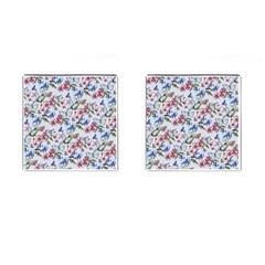 Watercolor Flowers Butterflies Pattern Blue Red Cufflinks (square) by EDDArt