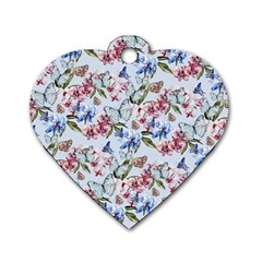 Watercolor Flowers Butterflies Pattern Blue Red Dog Tag Heart (two Sides) by EDDArt