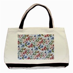 Watercolor Flowers Butterflies Pattern Blue Red Basic Tote Bag (two Sides) by EDDArt