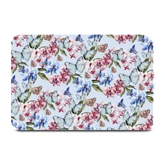 Watercolor Flowers Butterflies Pattern Blue Red Plate Mats by EDDArt