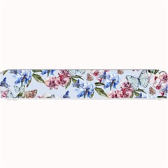 Watercolor Flowers Butterflies Pattern Blue Red Small Bar Mats by EDDArt