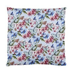 Watercolor Flowers Butterflies Pattern Blue Red Standard Cushion Case (two Sides) by EDDArt