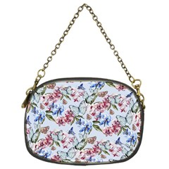 Watercolor Flowers Butterflies Pattern Blue Red Chain Purses (two Sides)  by EDDArt