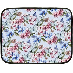 Watercolor Flowers Butterflies Pattern Blue Red Fleece Blanket (mini) by EDDArt