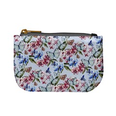 Watercolor Flowers Butterflies Pattern Blue Red Mini Coin Purses by EDDArt
