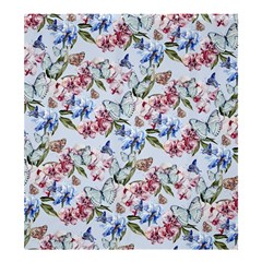 Watercolor Flowers Butterflies Pattern Blue Red Shower Curtain 66  X 72  (large)  by EDDArt